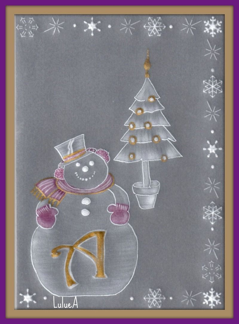 Pergamano bonhomme de neige avec initiale centerblog - Modele bonhomme de neige ...